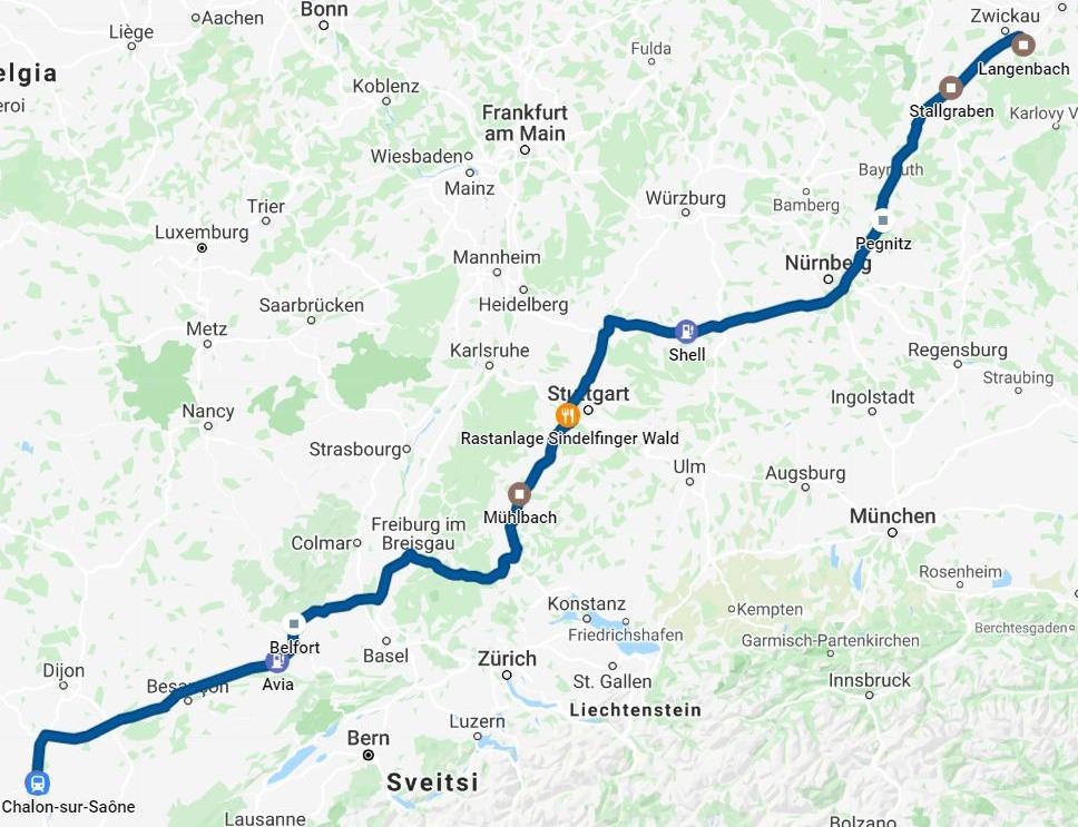 4513 km pitkä postaus  DAY 4 RANSKAN NURJA PUOLI, kartta